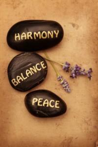 harmony, balance, peace pebbles
